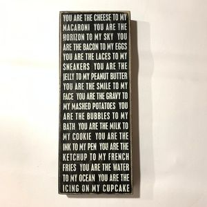 PRIMITIVE WOOD SIGN YOU ARE THE CHEESE TO MY MAC..